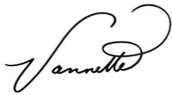 Vannette's signature